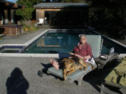 mom and rook at pool